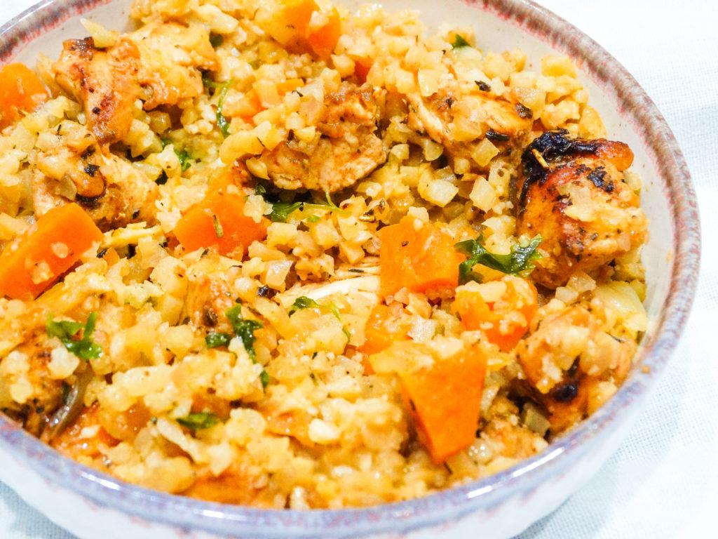 chicken cauliflower rice stir fry