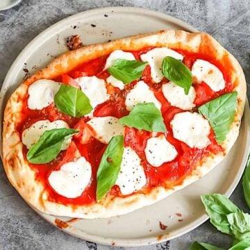 homemade margherita pizza