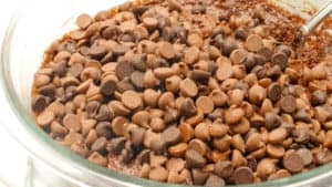 """alt=""""batter being mixed in a mixing bowl with chocolate chips on top"""""""
