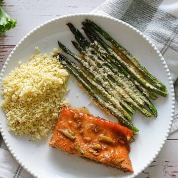 maple glazed salmon with asparagus and couscous