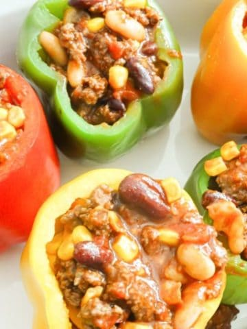 quick chili stuffed peppers