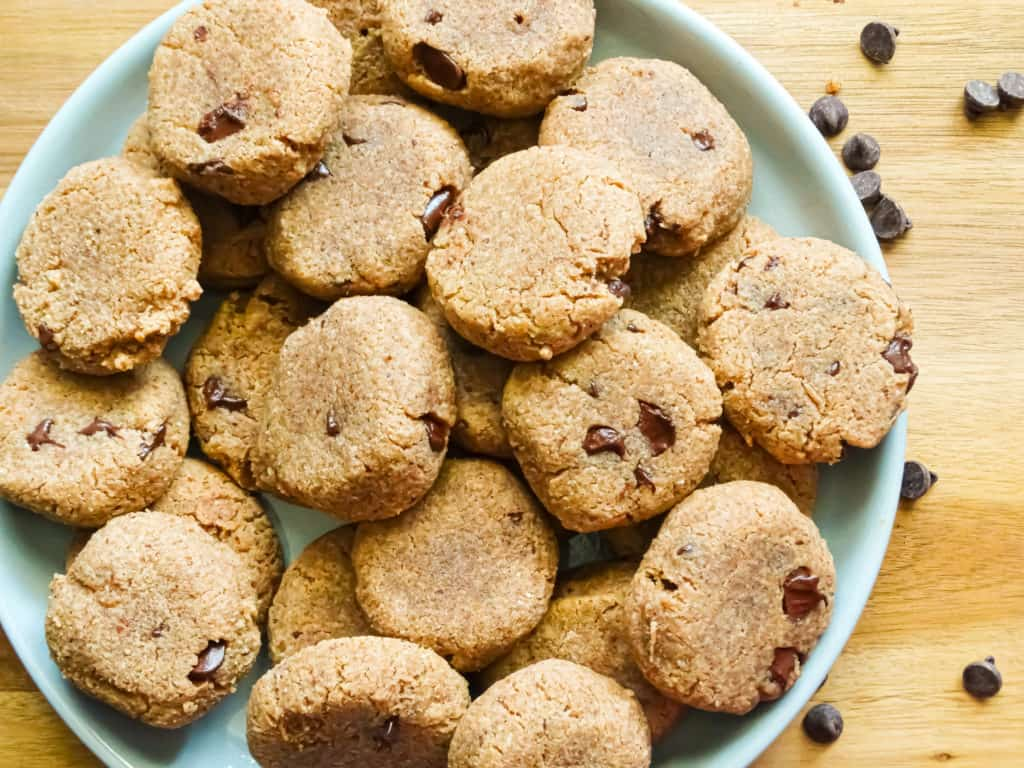 chocolate coconut cookies on a grey plate