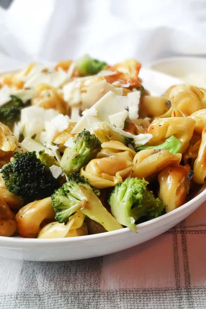 parmesan topped tortellini and broccoli one pot meal