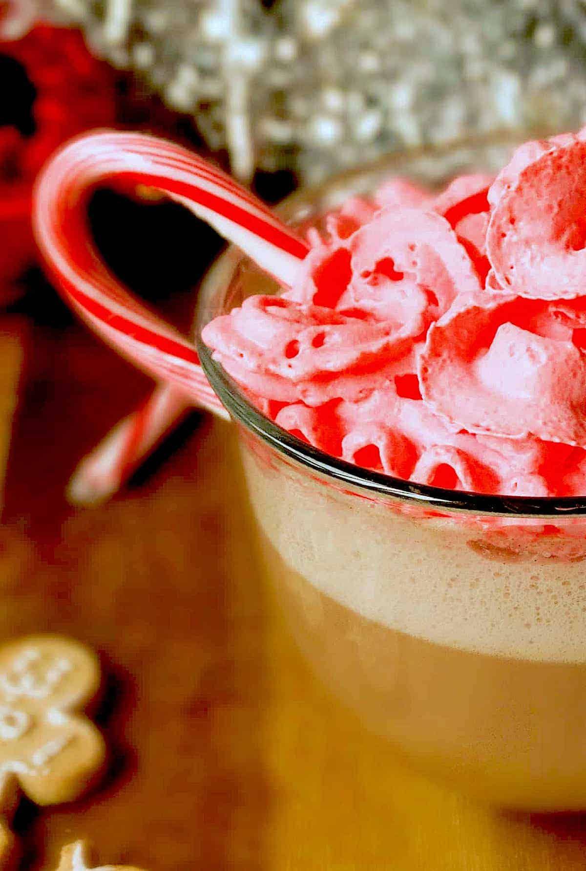 homemade peppermint mocha latte with peppermint whipped cream and candy cane in a clear glass mug