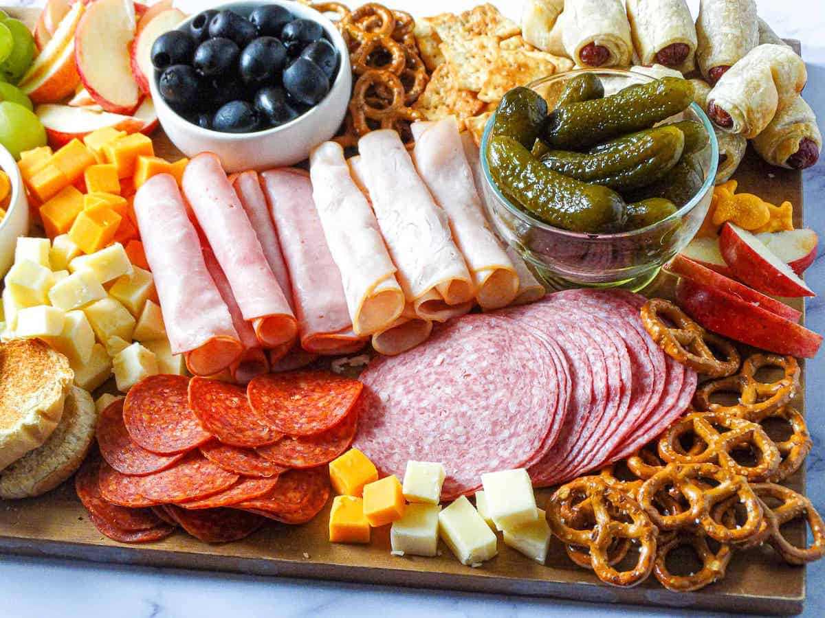 meat and cheese filled kid-friendly charcuterie board
