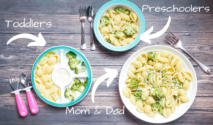 broccoli garlic pasta for kids, toddler, and adults in different sized bowls
