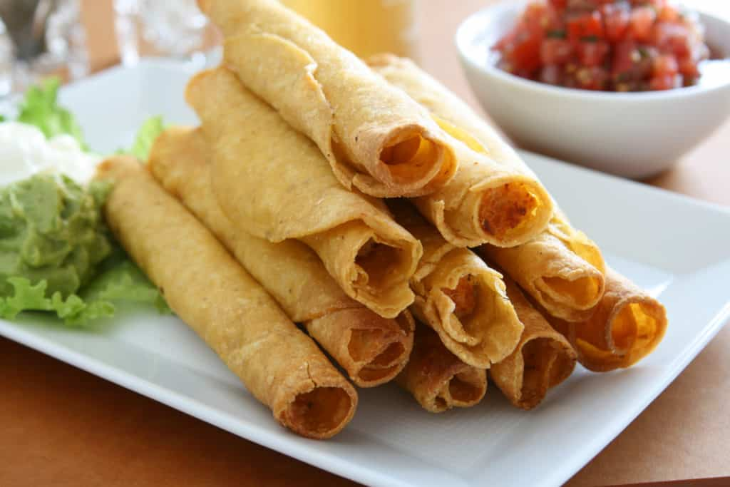 baked avocado chicken taquitos with salsa
