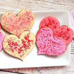 Valentine's butter cookies on a white plate