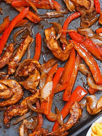 baked fajitas on a sheet pan