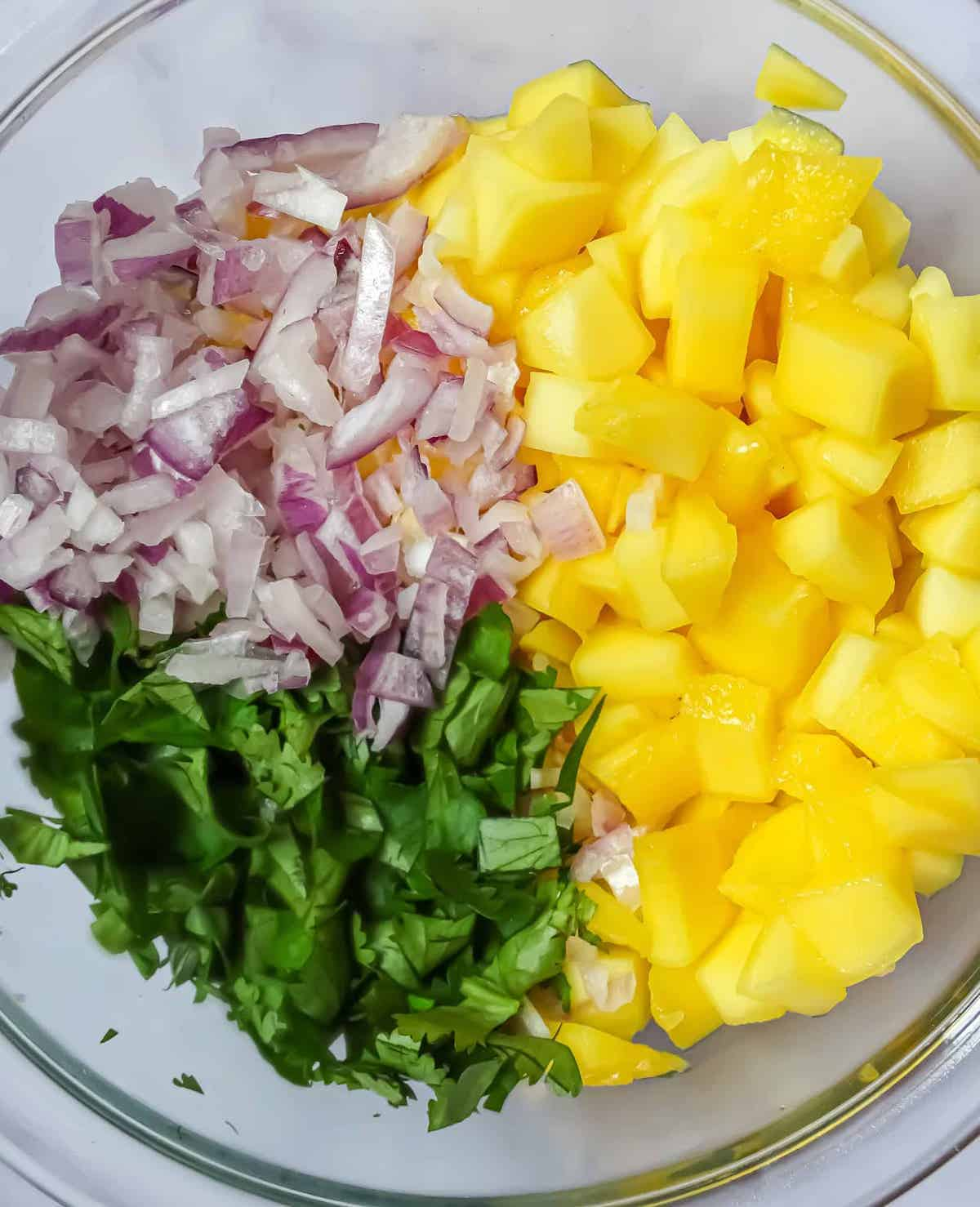 mango, red onion, and cilantro in a clear bowl