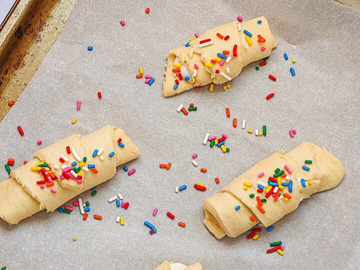 crescents topped with sprinkles