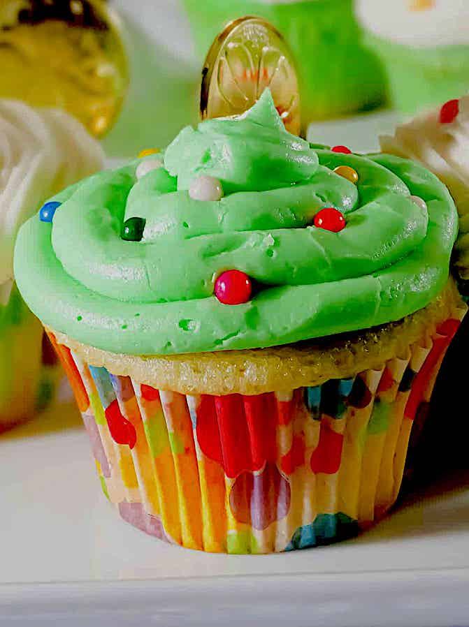cupcake with green buttercream frosting