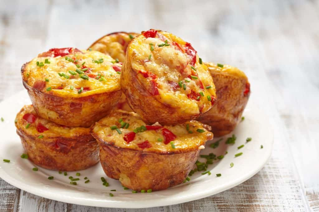 spinach egg muffins topped with chives