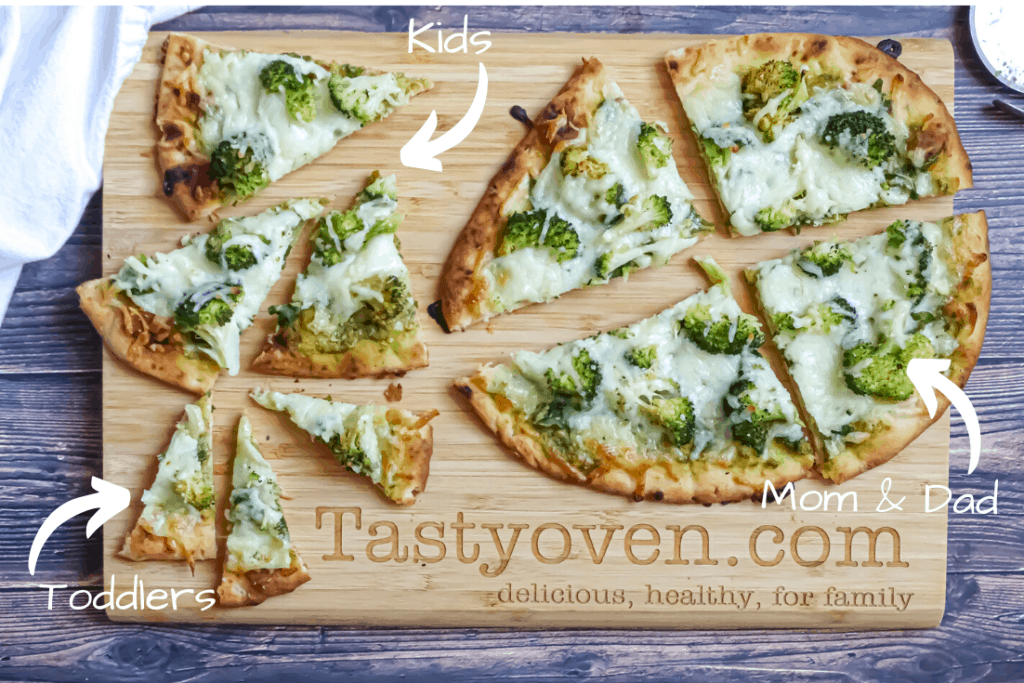 green pizza cut into slices for kids, parents, and babies