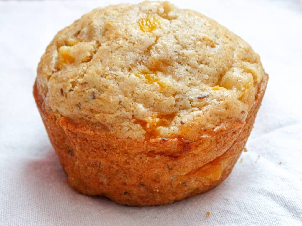 peach muffin made with a flax egg