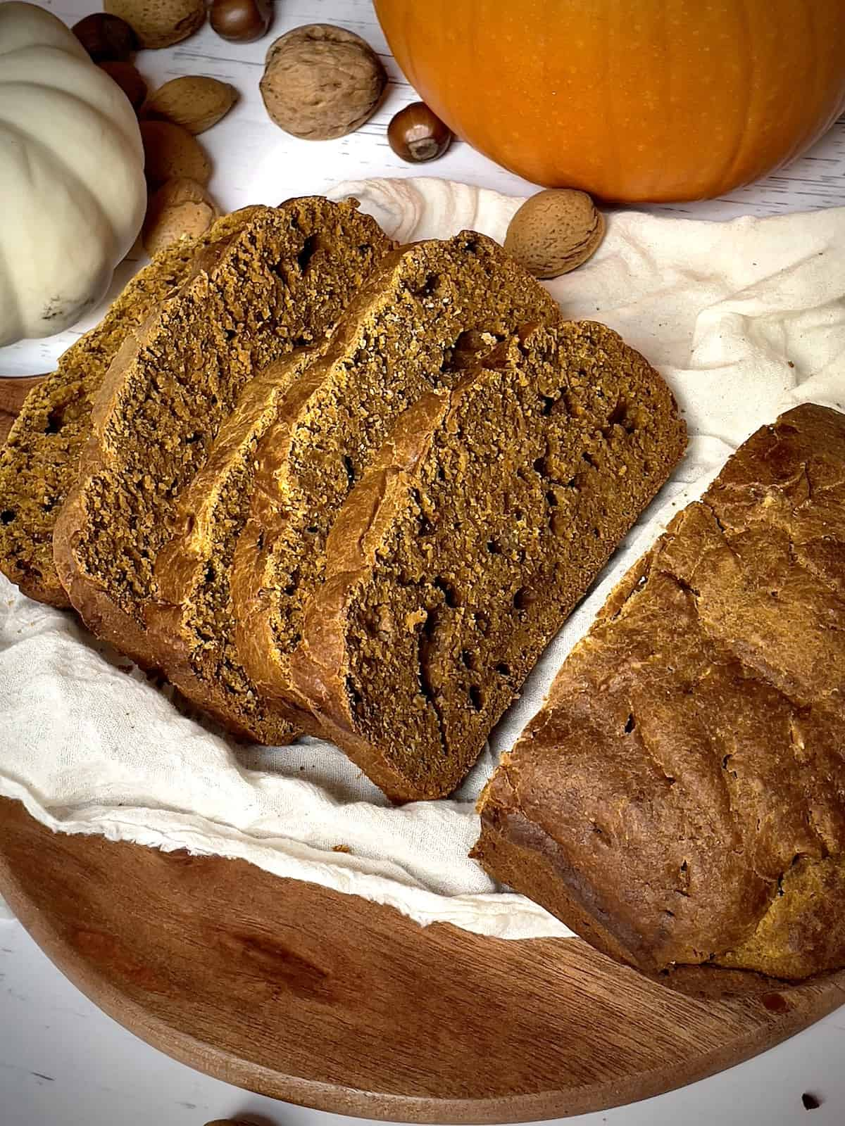 close up of pumpkin bread slices