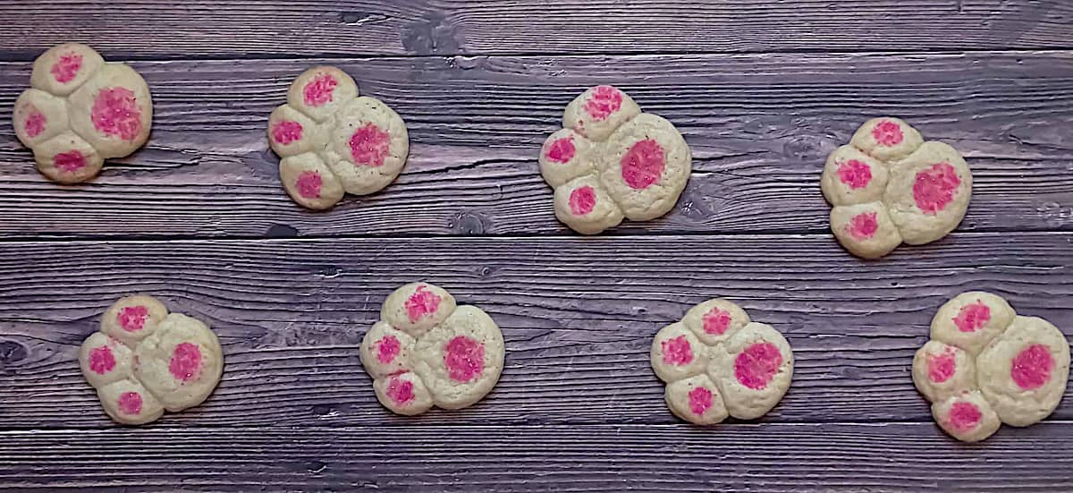 cooked bunny paw sugar cookies for Easter