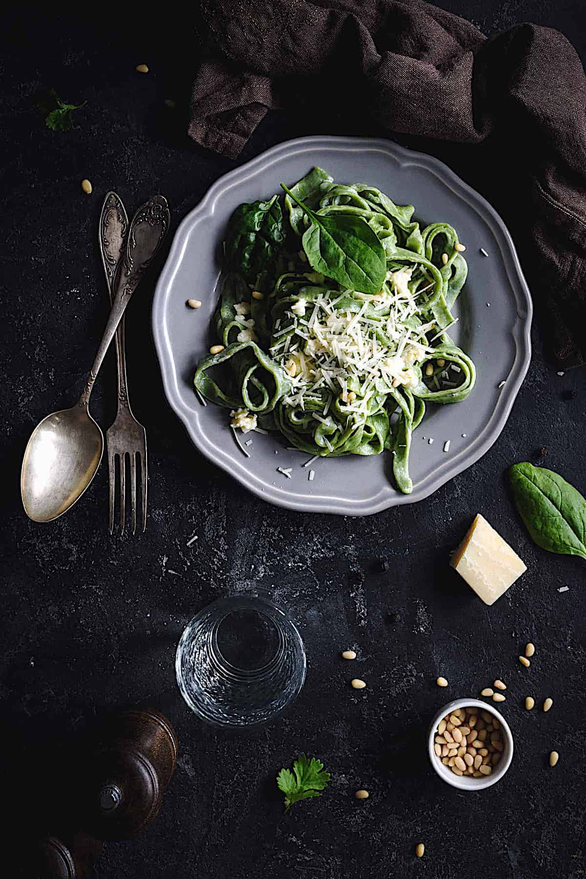 bread machine spinach pasta served with cheese and herbs