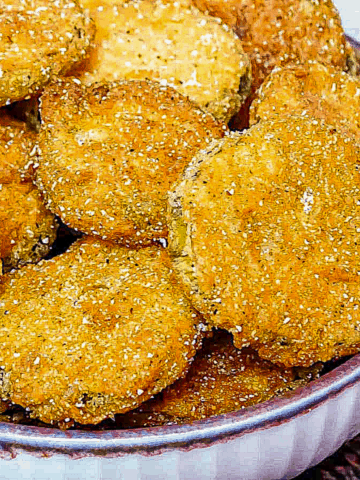 fried pickles in a bowl