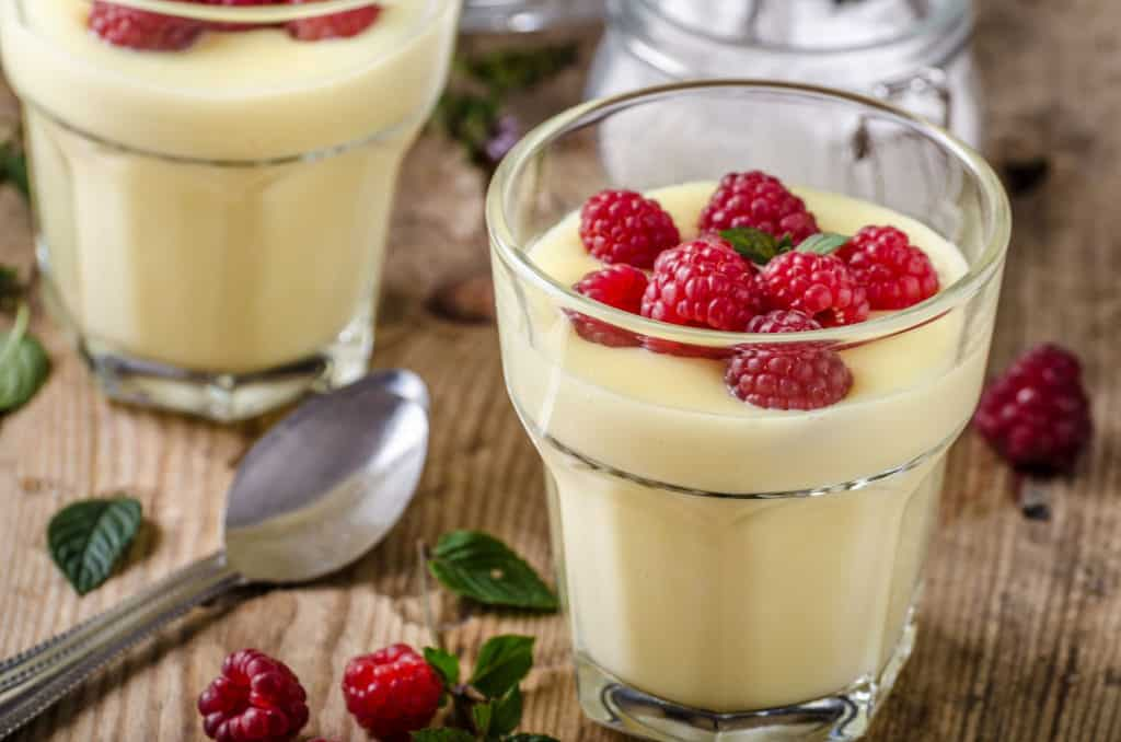 homemade vanilla pudding with almond milk and coconut milk