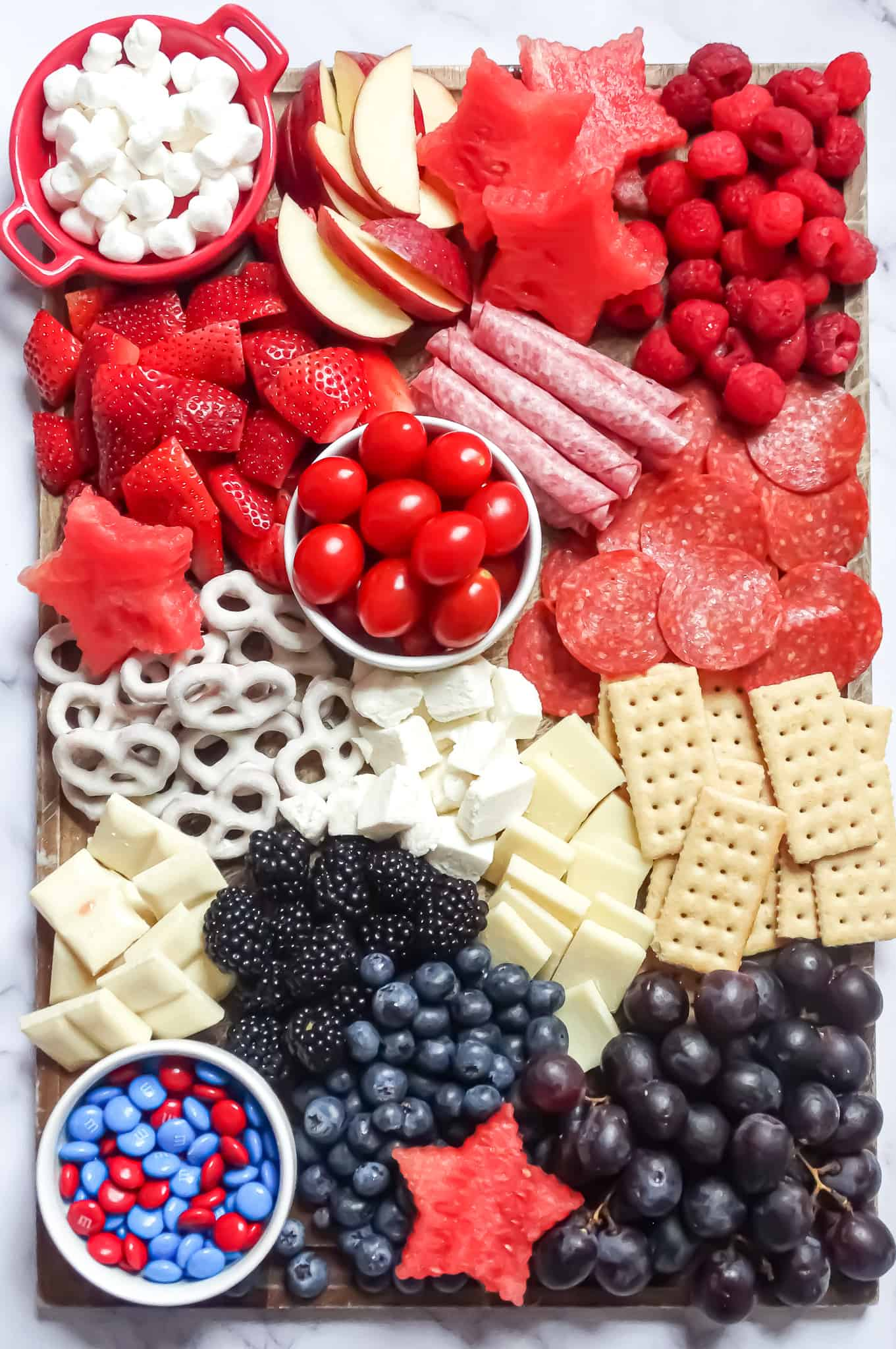 kids charcuterie board: red, white, and blue snack platter
