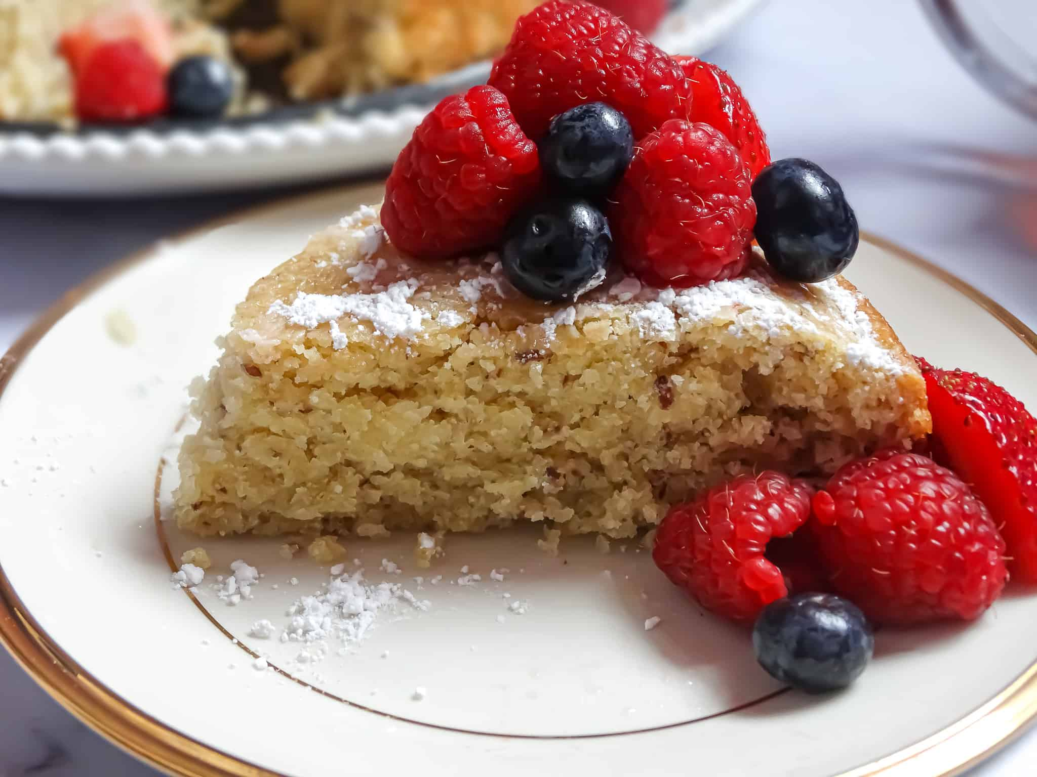 lemon olive oil cake topped with fruit