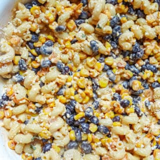 Mexican street corn pasta salad with cojita cheese, kid-friendly mexican street corn