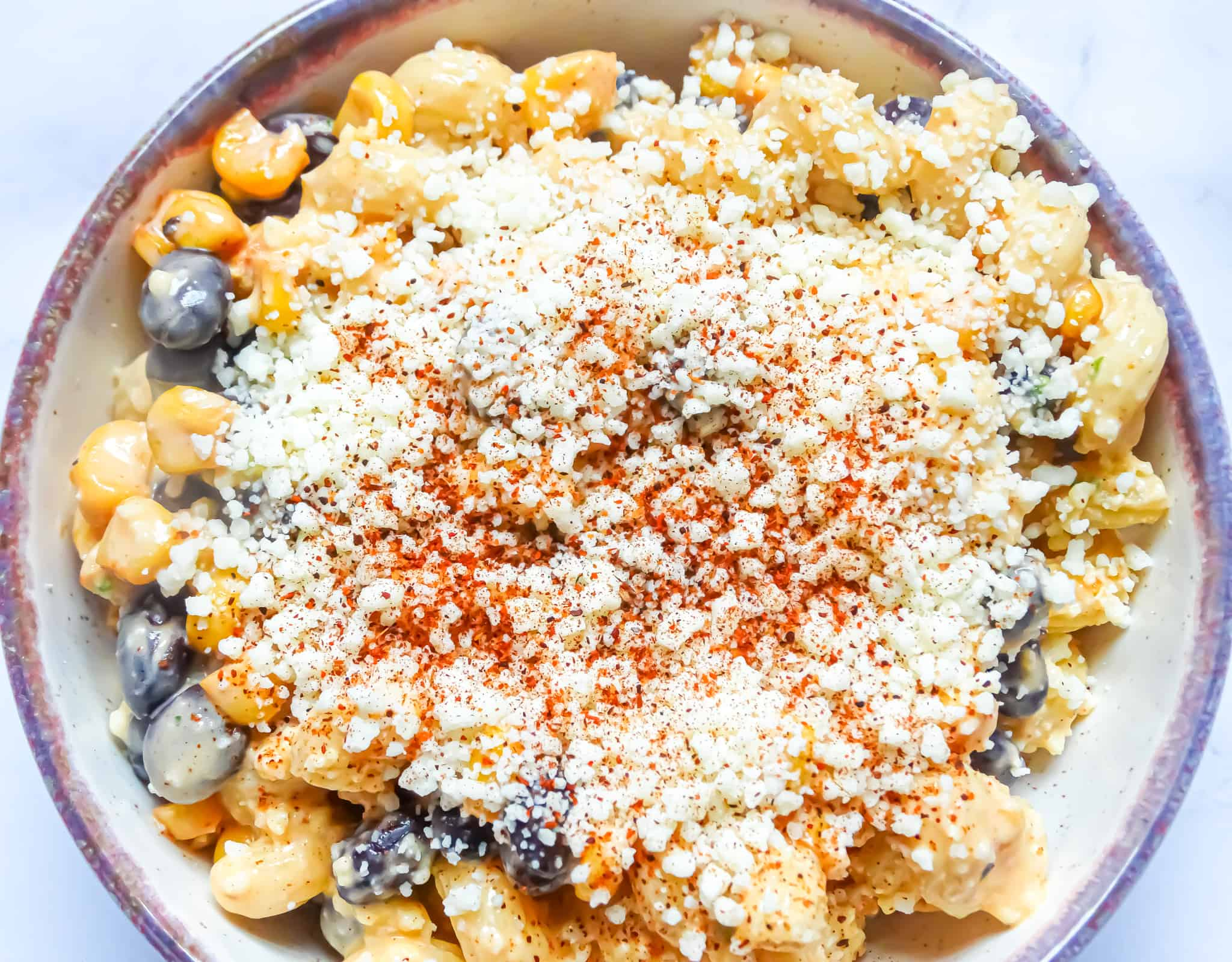 Mexican street corn pasta salad with cotija and smoked paprika