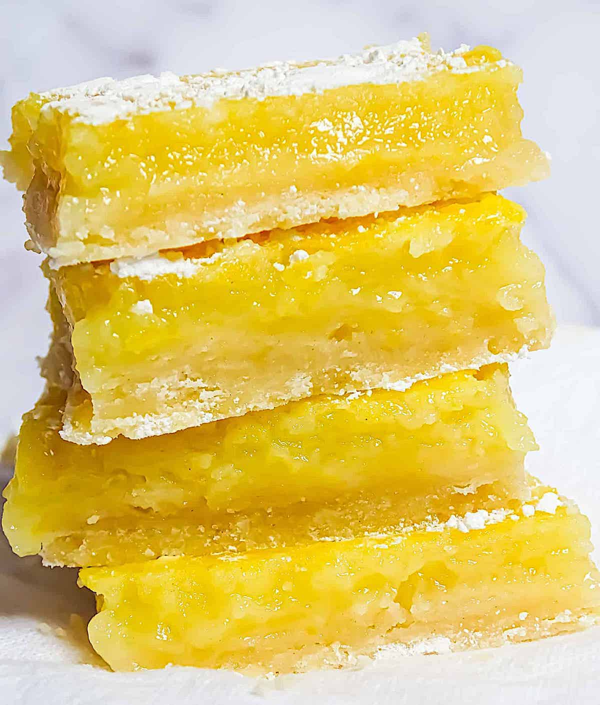lemons bars stacked on one another
