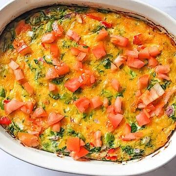 oven baked garden veggie omelette in a casserole dish
