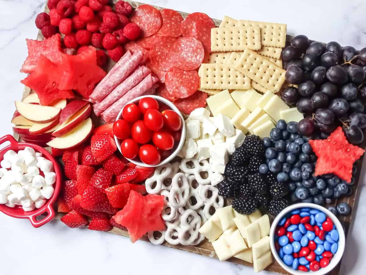 red, white and blue snack board for kids