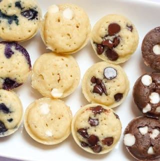 easy breakfast idea: mini pancake bites with almond milk batter, chocolate chips, blueberries, and white chocolate chips