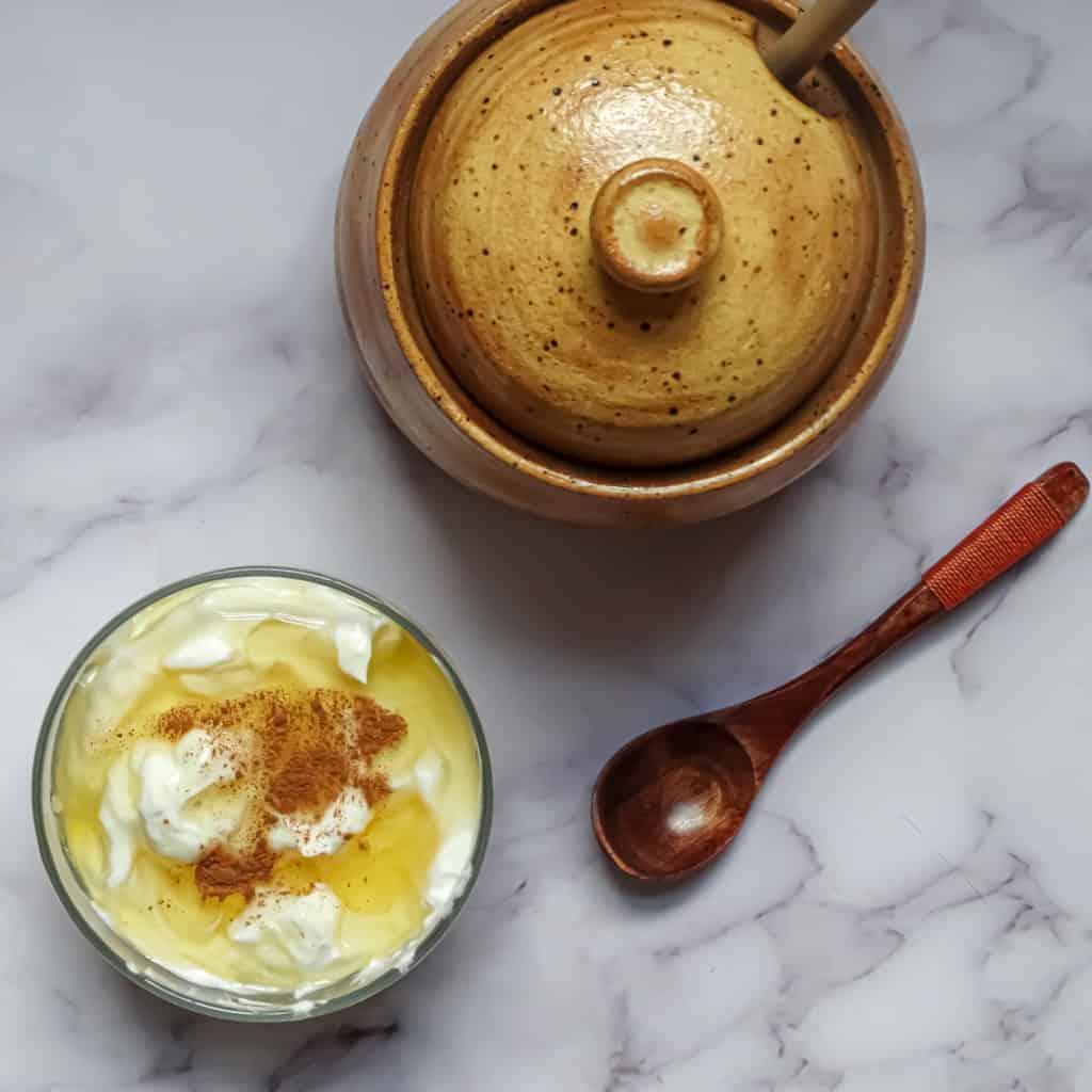 honey cinnamon yogurt in a bowl