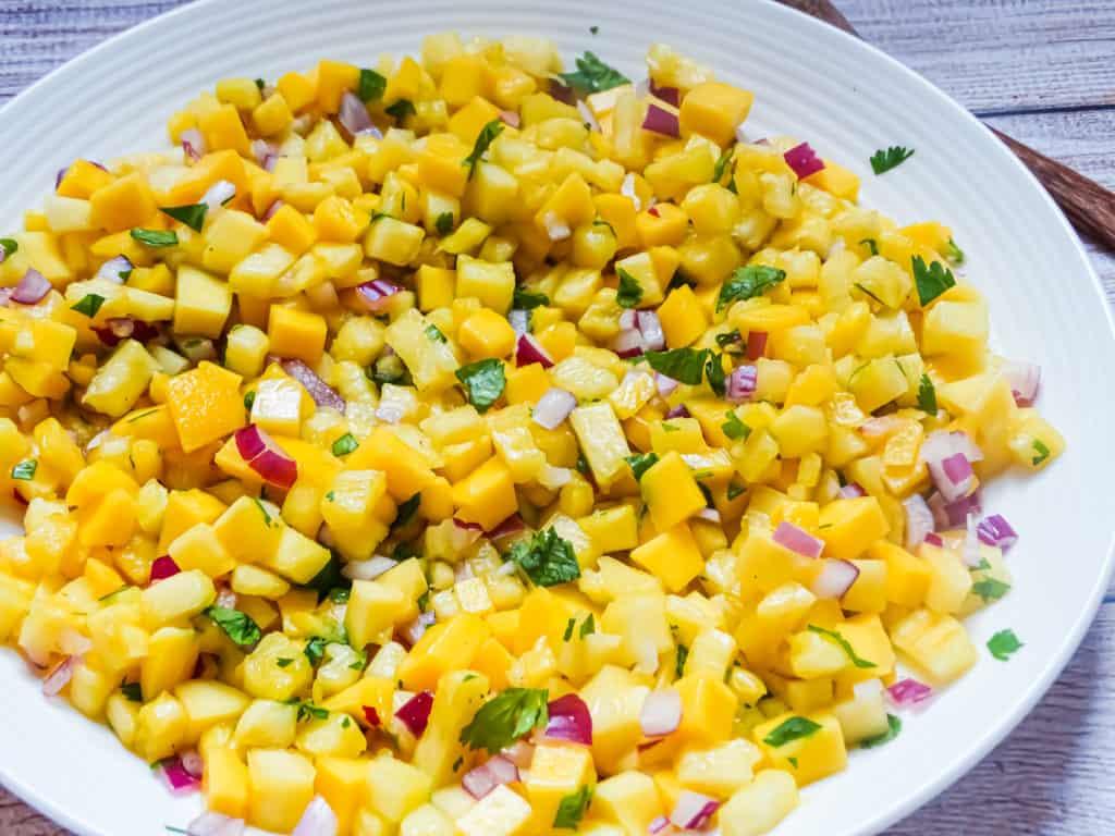 close up of pineapple mango salsa
