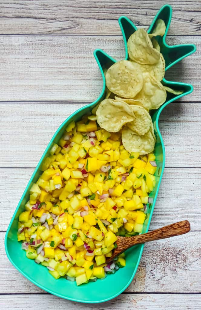 pineapple mango salsa and tortilla chips on a picnic table