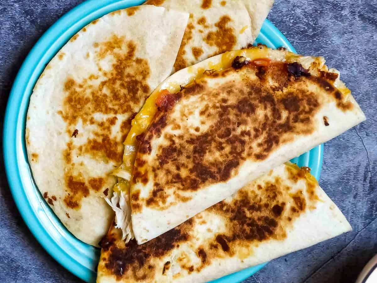 4 cheese quesadillas on a plate