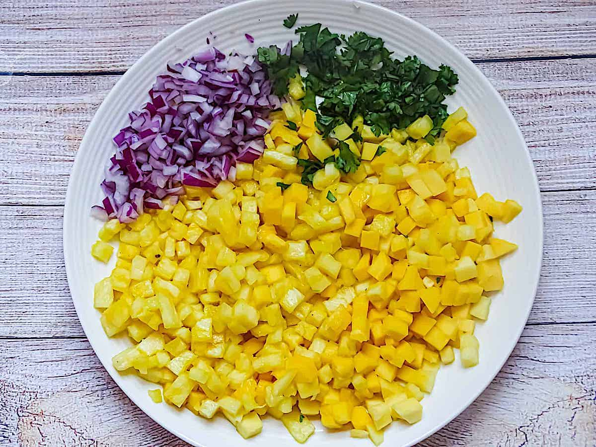 red onions, cilantro, and pineapples diced on a white plate