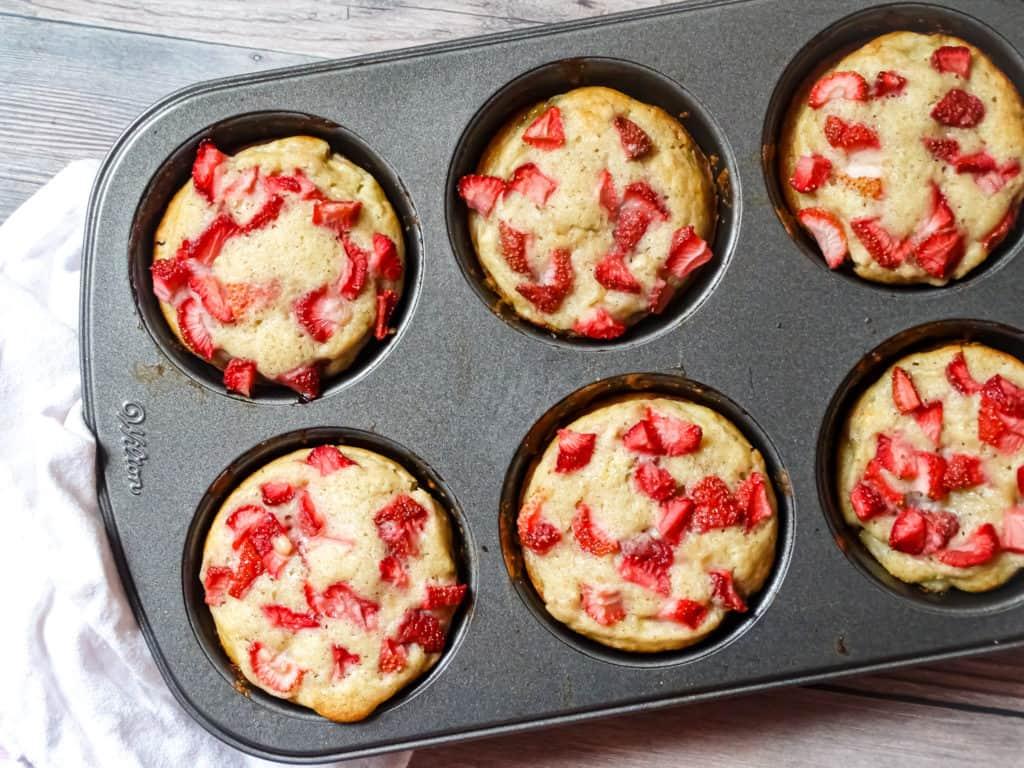the best banana strawberry muffins recipe, banana muffins in a jumbo muffin tin
