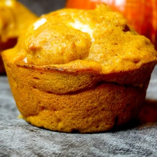 pumpkin muffin with cream cheese on a gray background