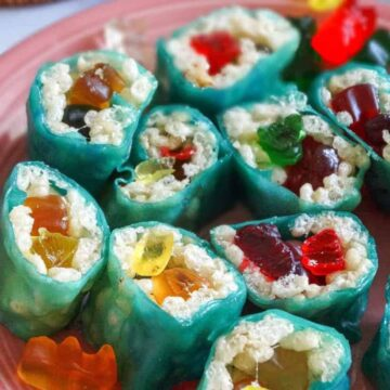 candy sushi on a pink plate