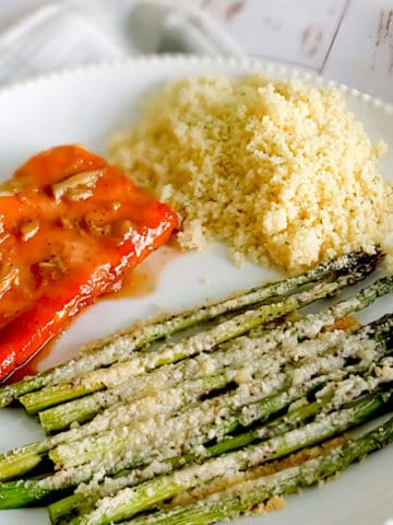 maple glazed salmon with couscous and asparagus