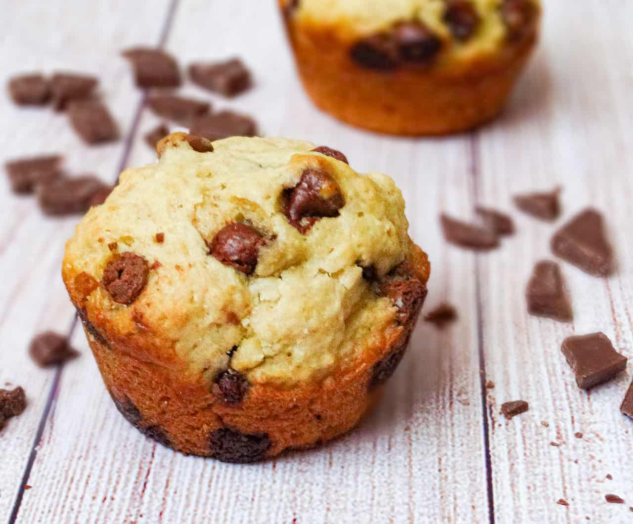 almond milk chocolate chip muffin on a wooden background