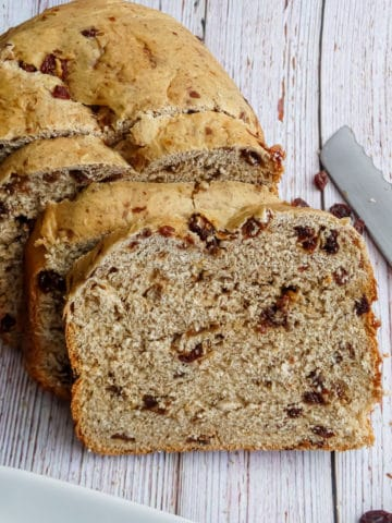 close up of cinnamon swirl bread on a wooden background