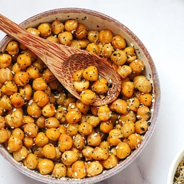 crispy roasted chickpeas in a white bowl