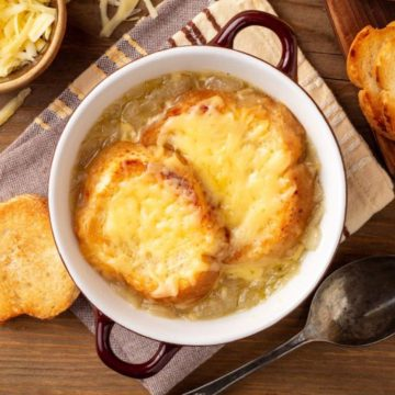 traditional French onion soup in a crock