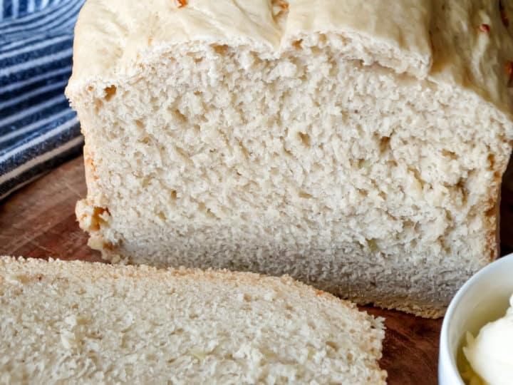 closeup of bread machine garlic bread