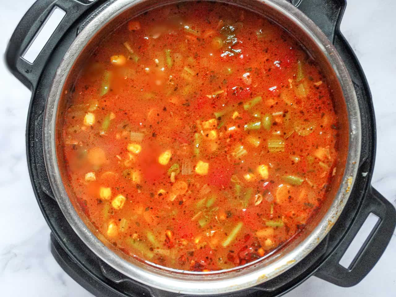 completed vegetable soup in an instant pot