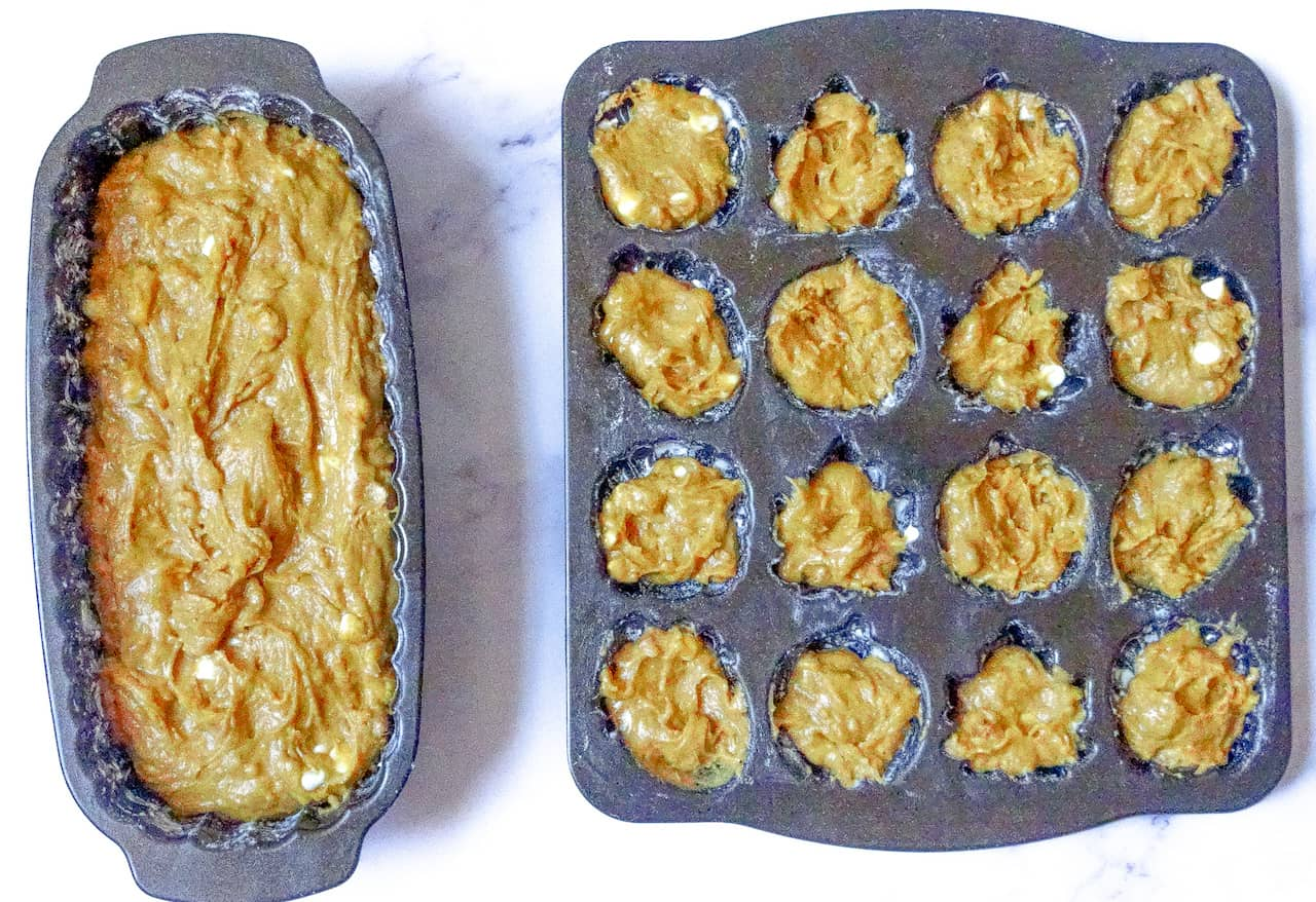 batter in a loaf pan and cakelet pan