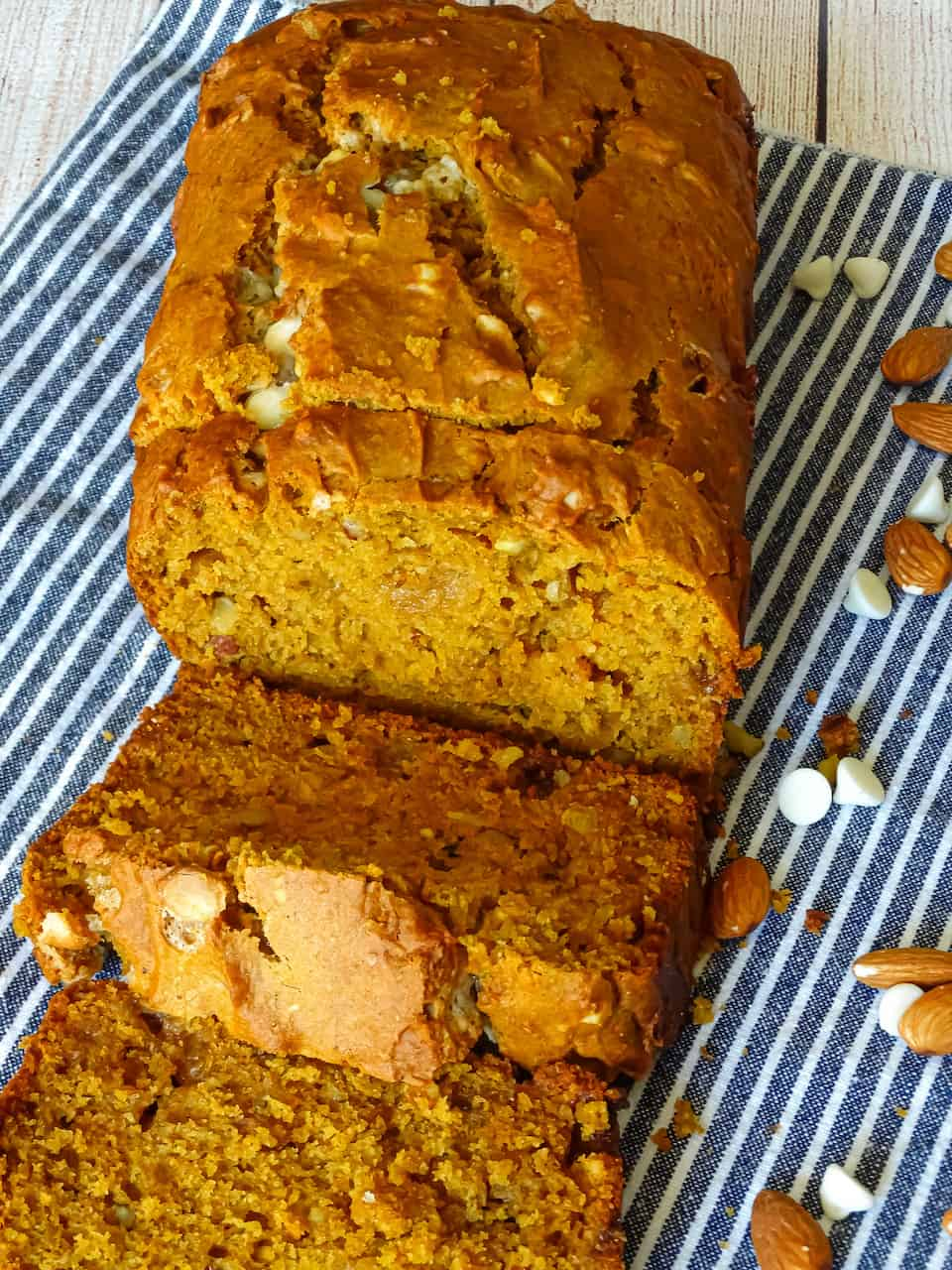 pumpkin bread with chocolate chips and almonds cut into slices