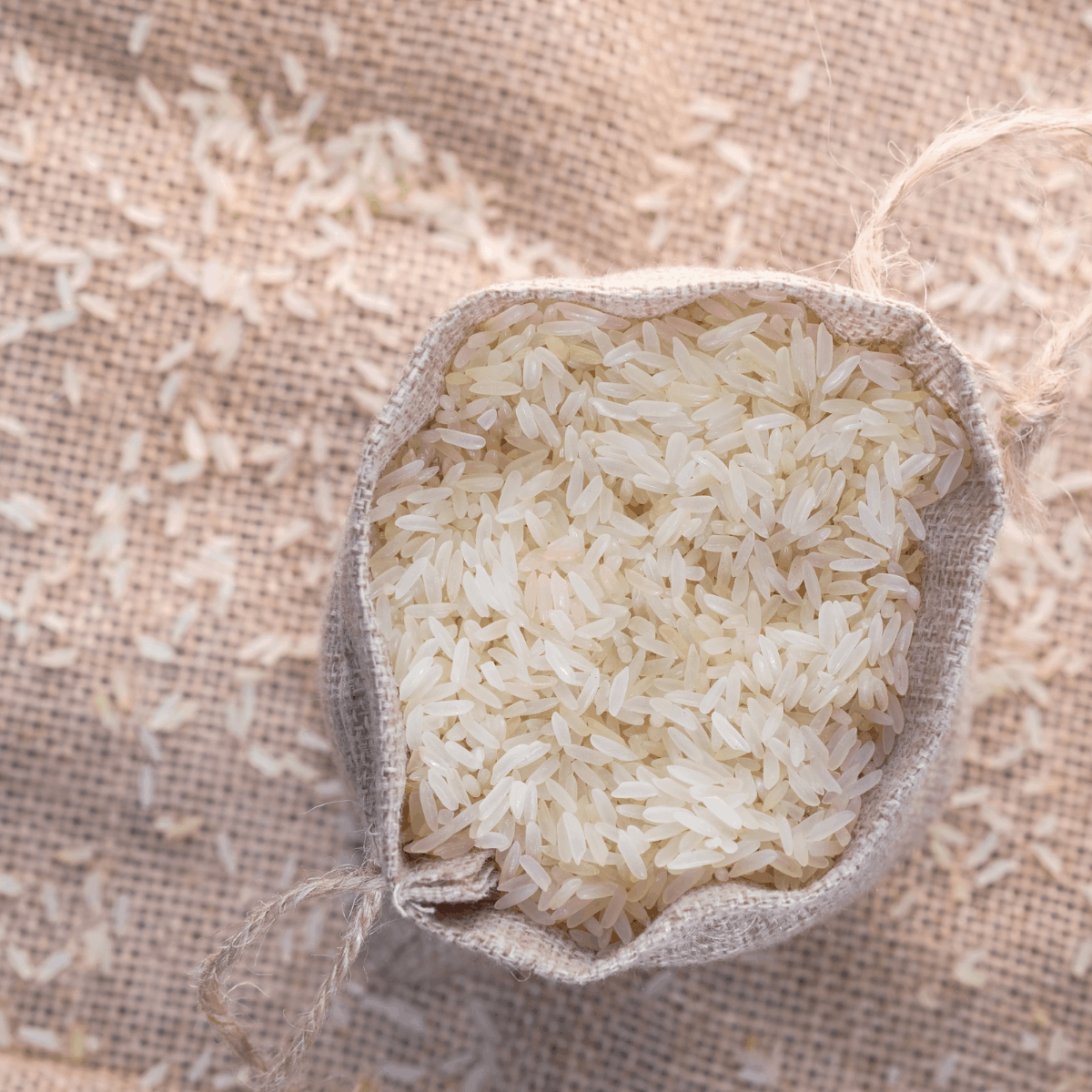 bag of white rice on rice paper